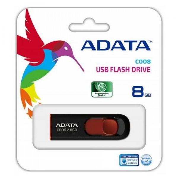 Adata USB Pendrive 8 GB 2.0 Black/Red (AC008-8G-RKD) Kiegészítők
