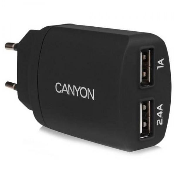 CANYON Dual USB Home Charger Black (CNE-CHA22B) Kiegészítők