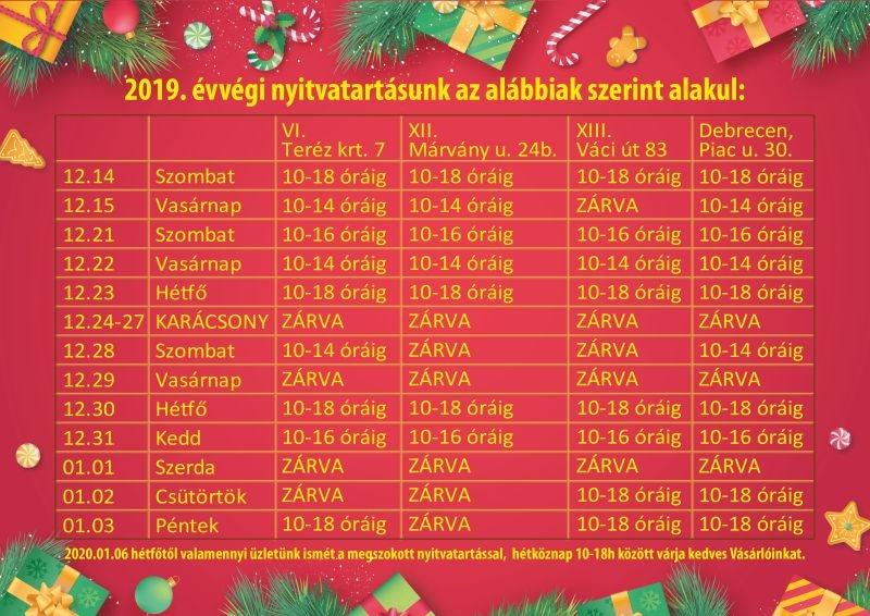 2019 évvégi nyitvatartás laptop.hu